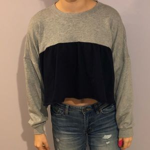 Grey & Blue Soft Crop Sweatshirt